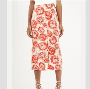 Topshop retro look floral midi skirt with slit